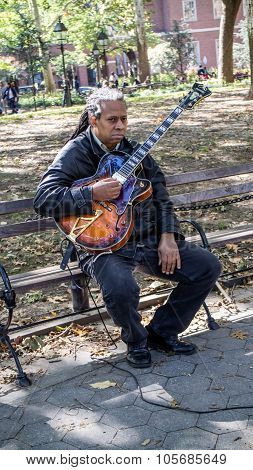 Musician Guitarist At Washington Square Garden