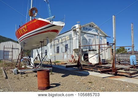 Ship Yard & Yacht Being Repaired, Waikawa, New Zealand