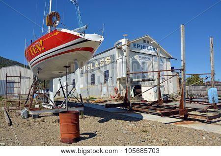 Ship Yard & Yacht Being Repaired, Waikawa, New Zealand