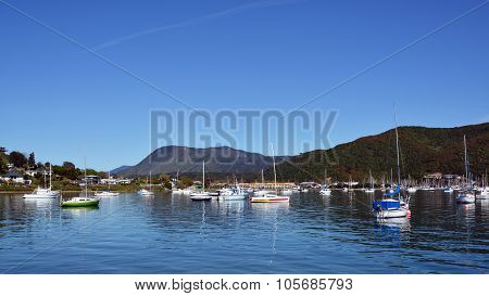Yachts On A Still Spring Morning In Waikawa Bay, New Zealand