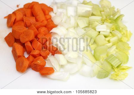 Chopped Carrots, Onions And Celery