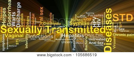 Background concept wordcloud illustration of sexually transmitted disease STD glowing light