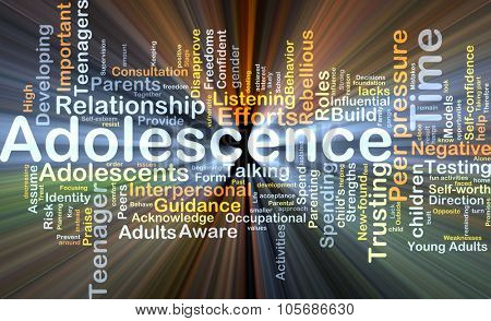 Background concept wordcloud illustration of adolescence glowing light