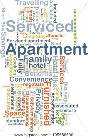 Background concept wordcloud illustration of service apartment