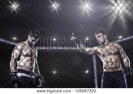 MMA fighters inside the arena before fight