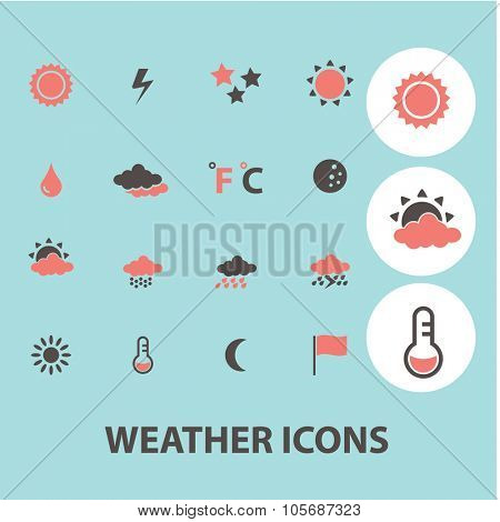 weather, climate concept icons, symbols on background, vector