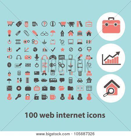 100 web internet concept icons, symbols on background, vector