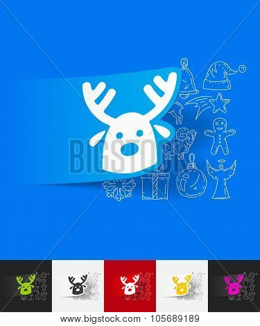 christmas deer paper sticker with hand drawn elements