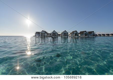 Wide Angle Of Luxury Over Water Bungalow, Water Villa Lagoon In The Sea