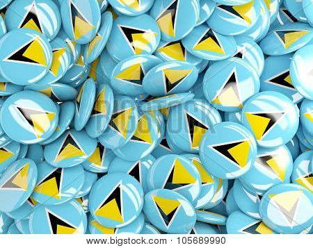 Background With Round Pins With Flag Of Saint Lucia