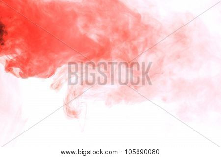 Abstract Crimson Smoke Hookah On A White Background.