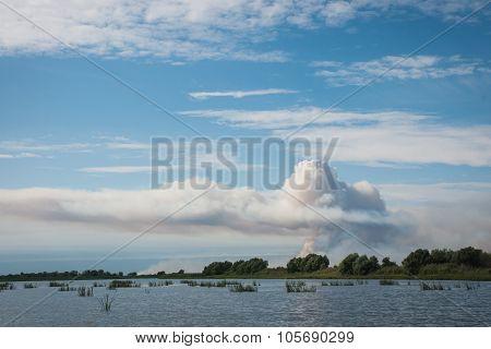 Smoke From A Fire In The Volga Delta, Russia