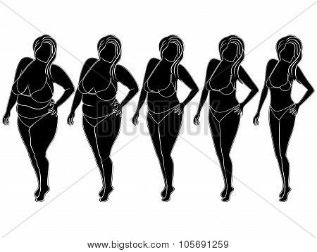 Abstract Woman On The Way To Slimming