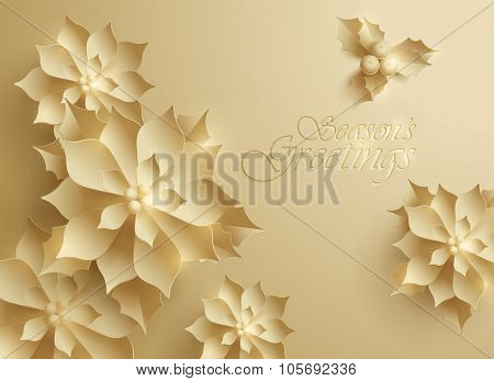 Seasons Greetings. Vector paper graphic of Christmas flower.