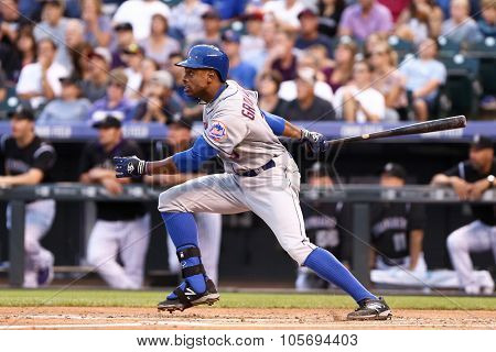 DENVER-AUG 21: New York Mets outfielder Curtis Granderson waits for a pitch during a game against the Colorado Rockies at Coors Field on August 21, 2015 in Denver, Colorado.