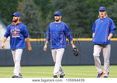 DENVER-AUG 21: (L-R) New York Mets pitchers Jon Niese, Matt Harvey and Noah Syndergaard before a game against the Colorado Rockies at Coors Field on August 21, 2015 in Denver, Colorado.