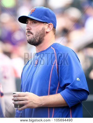 DENVER-AUG 21: New York Mets pitcher Matt Harvey during a game against the Colorado Rockies at Coors Field on August 21, 2015 in Denver, Colorado.