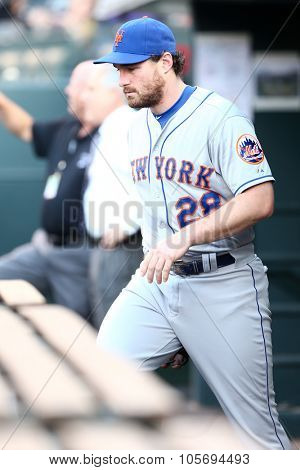 DENVER-AUG 21: New York Mets infielder Daniel Murphy in the dugout before a game against the Colorado Rockies at Coors Field on August 21, 2015 in Denver, Colorado.