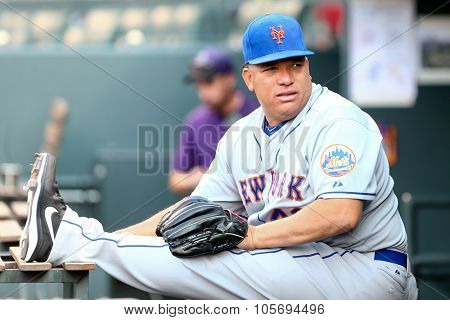 DENVER-AUG 21: New York Mets pitcher Bartolo Colon warms up before a game against the Colorado Rockies at Coors Field on August 21, 2015 in Denver, Colorado.