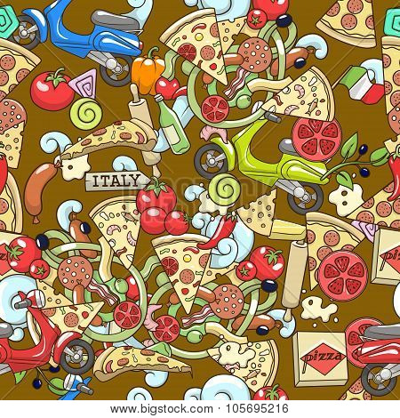 Pizza seamless background vector illustration