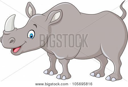 Cartoon happy rhino standing isolated on white background