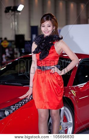 Bangkok - May 20 : Ferrari 458 Italia With A Model On Display During The
