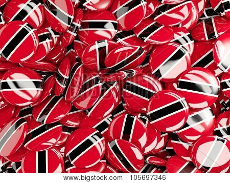 Background With Round Pins With Flag Of Trinidad And Tobago