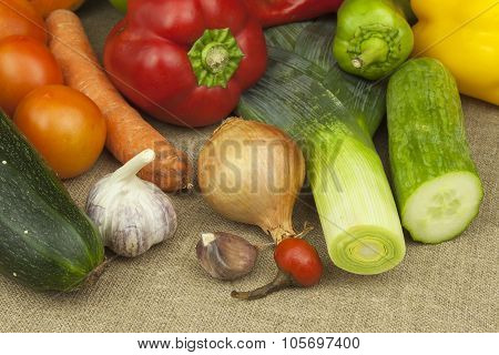 Fresh colorful vegetables on table. Fresh vegetables ready for processing.
