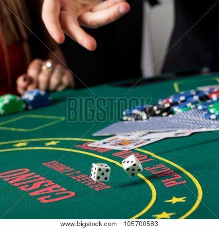 Dice Gambling Closeup
