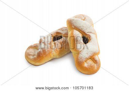 Fresh baked buns with jam