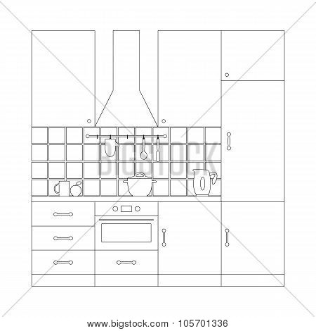 Kitchen Set Coloring Page Template