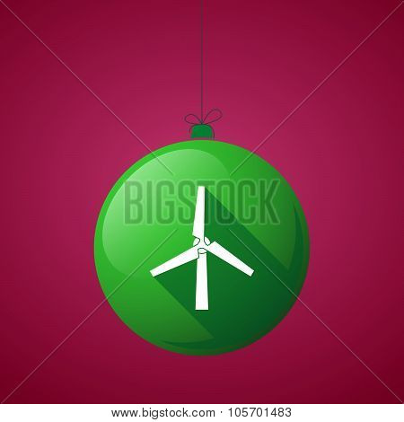 Long Shadow Christmas Ball Icon With A Wind Generator