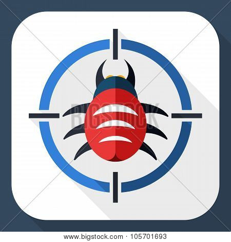 Bug Target Icon With Long Shadow