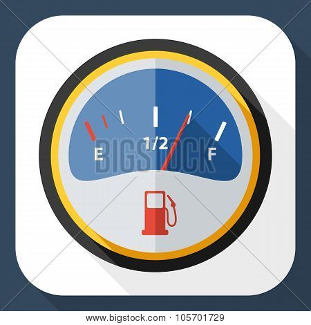 Fuel Gauge Icon With Long Shadow