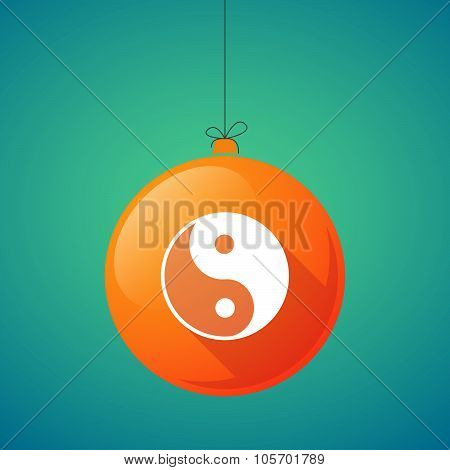 Long Shadow Christmas Ball Icon With A Ying Yang