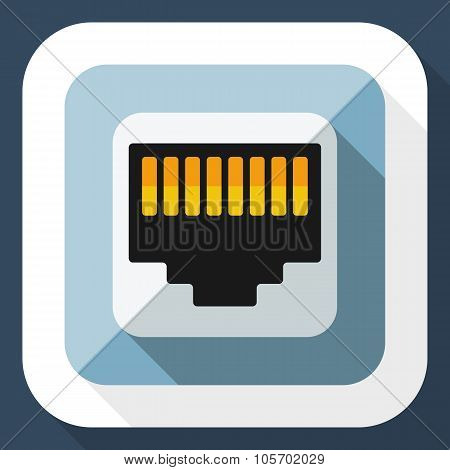 Network Socket Icon With Long Shadow