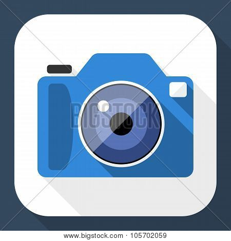 Photo Camera Flat Icon With Long Shadow