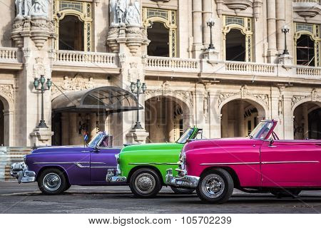 HAVANA, CUBA - JULY 05, 2015: Colorful american vintage cars parked in Havana Cuba