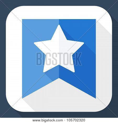 Star On The Flag Icon With Long Shadow
