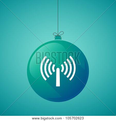 Long Shadow Christmas Ball Icon With An Antenna