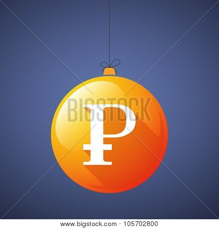 Long Shadow Christmas Ball Icon With A Ruble Sign