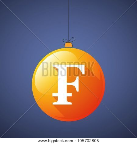 Long Shadow Christmas Ball Icon With A Swiss Franc Sign