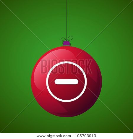 Long Shadow Christmas Ball Icon With A Subtraction Sign