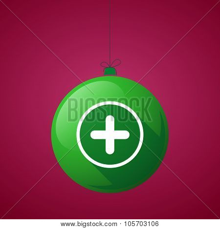 Long Shadow Christmas Ball Icon With A Sum Sign