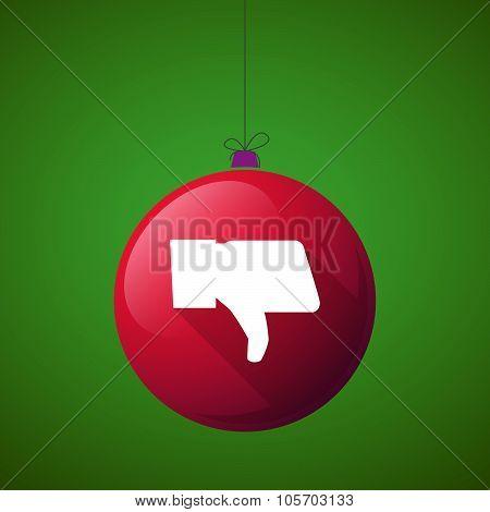 Long Shadow Christmas Ball Icon With A Thumb Down Hand