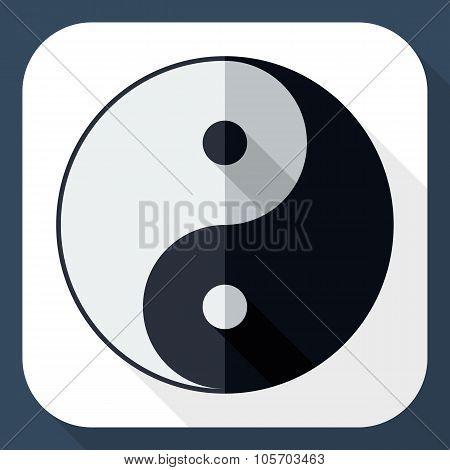 Yin And Yang Symbol With Long Shadow