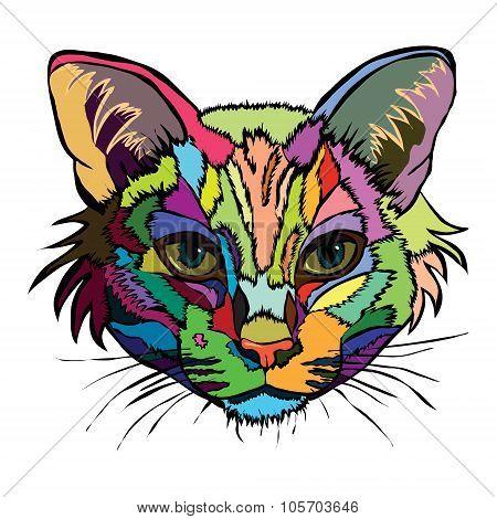 Vector Illustration. Pop Art Portrait Of A Cat.
