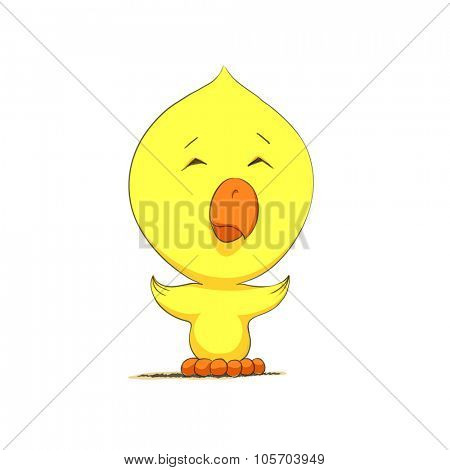 Cute chick character on white background