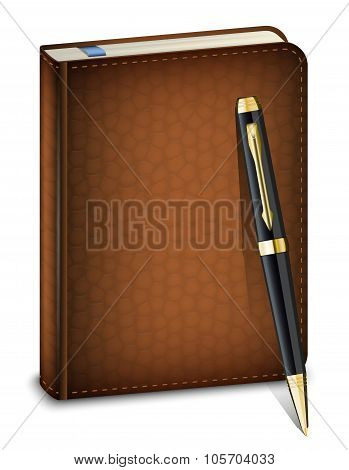 Vector Diary With Classic Pen On The White Background