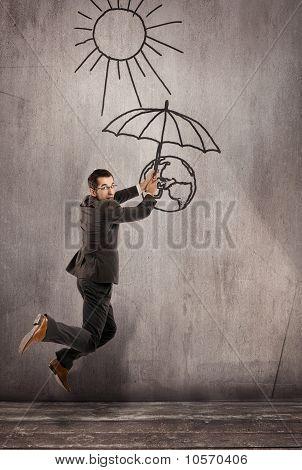 Man saving earth